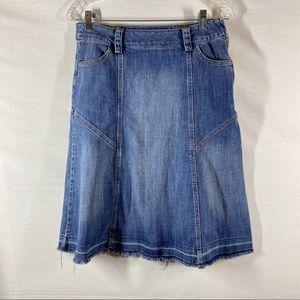 Harold's Release Hem A-Line Denim Midi Skirt